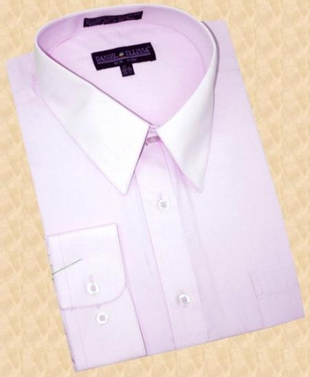 SKU#SR910 Solid Lavender Cotton Blend Dress Shirt With Convertible Cuffs $39