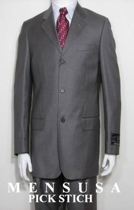 SKU# ZL3 Solid Light Gray 3 Button Pick Stitch With Back Side Vents Dress Suits $295