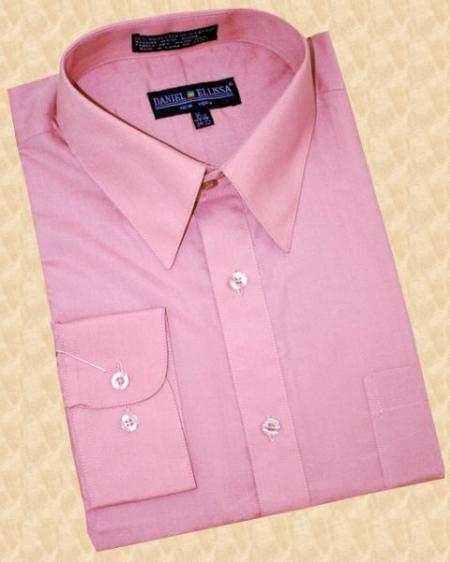 SKU#RP400 Solid Mauve Cotton Blend Dress Shirt With Convertible Cuffs $39