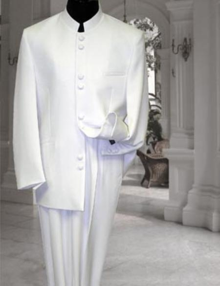 SKU#M78 Solid Off White/Ivory Mandarin Collar BANNED Collar Suit 8 BUTTON FRENCH CUT $199
