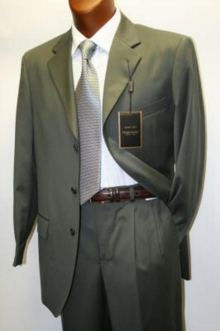 SKU# 693 Solid Olive Green Business Suit Super 120s Wool $199