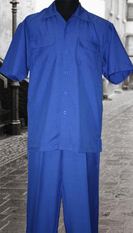 SKU#TD943 Solid Royal 2 PC Shirt and Pants Set