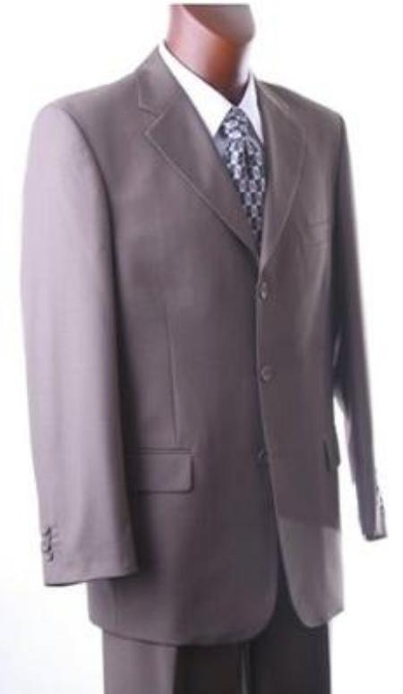 SKU#NOX719 Solid Taupe(Grayish-brown color Dark Olivish~Beige) Super 140s Wool Suit Back Side Vent $199
