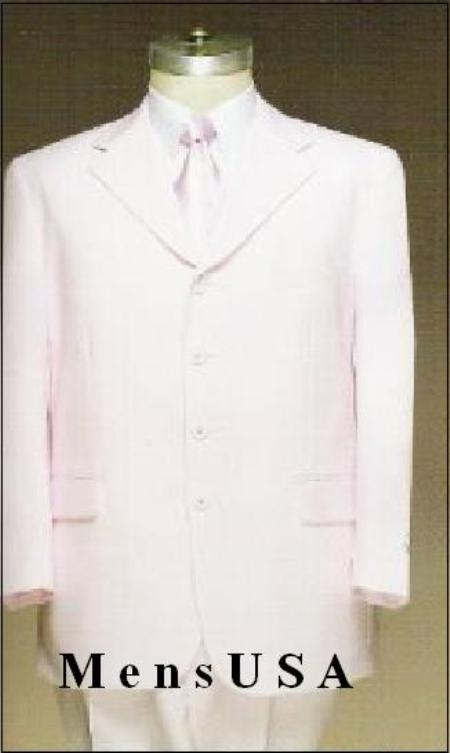 SKU# ZK18 Solid White 4-Button Non-vented Jacket + Pleated Pants