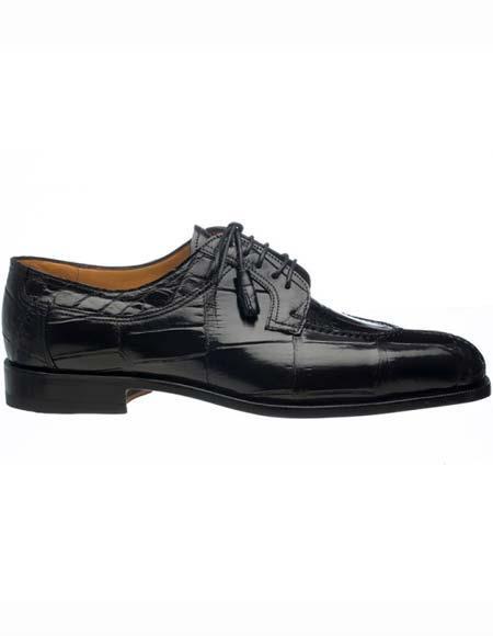 Ferrini Men's Split Toe Derby Style Genuine World Best Alligator ~ Gator Skin Black Tasseled Laces Shoes