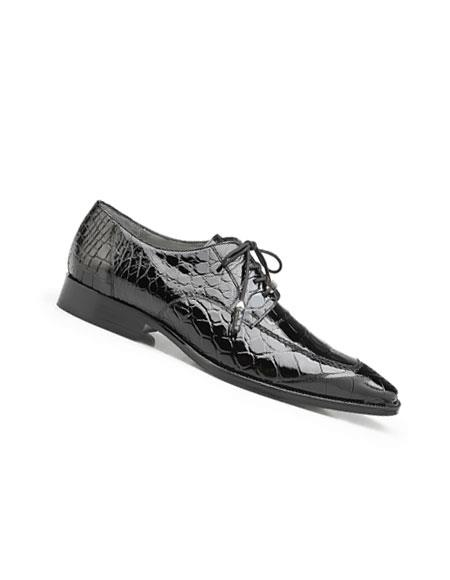 Mens Black Genuine World Best Alligator ~ Gator Skin Lace Up Style Dress Shoes