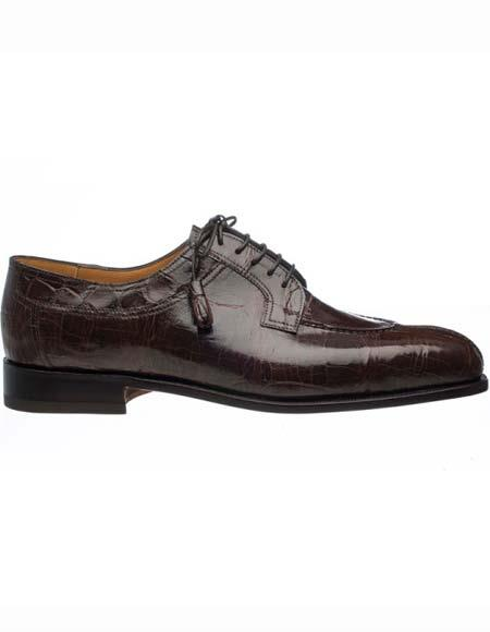 Ferrini Men's Split Toe Chocolate Genuine World Best Alligator ~ Gator Skin Tasseled Laces Leather Shoes
