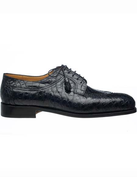Ferrini Mens Navy Genuine World Best Alligator ~ Gator Skin Tasseled Laces Leather Split Toe Shoes