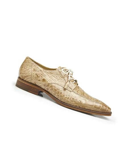 Mens Genuine World Best Alligator ~ Gator Skin Lace Up Style Taupe Dress Shoes