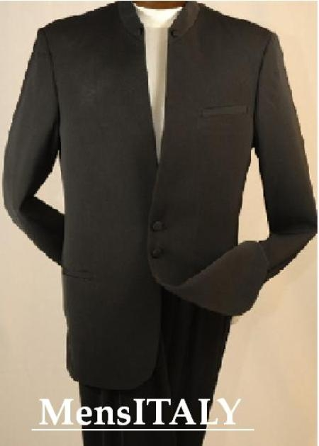 SKU# JJ78 Split collar highest quality shoulder  mens black mandarin collar two button suit $249