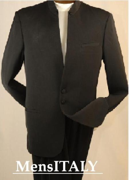 SKU# JJ78 Split collar highest quality shoulder  mens black mandarin collar two button suit