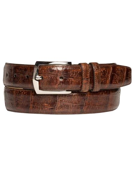 Mezlan Brand Mens Genuine Crocodile Sport Rust Skin Belt
