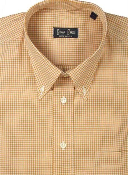 Gitman Sport Cotton Gingham Plaid Gold On Sale: $105