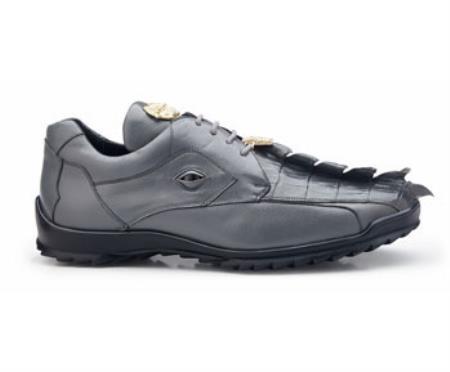 Authentic Genuine Skin Italian Brand Genuine Spring Gray  Hornback Crocodile and Soft Calf Leather Lining Shoe