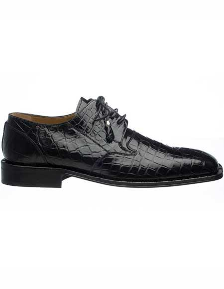 Ferrini Mens Square Toe Genuine World Best Alligator ~ Gator Skin Black Leather Sole Tasseled Laces Shoes