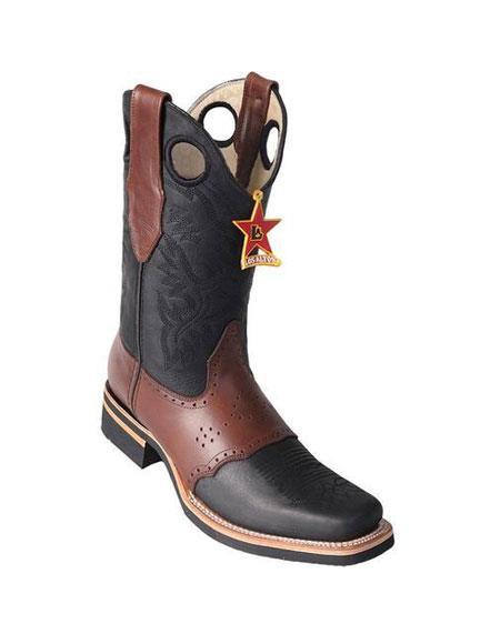Buy GD226 Men's Los Altos Square Toe Boots Black & Brown Saddle Rubber Sole Handmade
