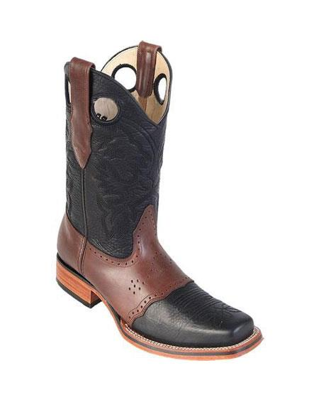 Men's Los Altos Boots Square Toe Black & Brown Dress Cowboy Boot Cheap Priced For Sale Online With Saddle Rubber Sole Handmade