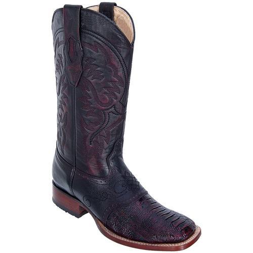 Mens Los Altos Black Cherry Ostrich Leg Wide Square Toe Boots W/ Saddle Vamp