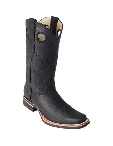 Men's Los Altos Boots Square Toe Dress Cowboy Boot Cheap Priced For Sale Online Black With Saddle Rubber Sole Handmade