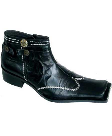 SKU#SM1899 Zota Brand Mens High Fashion Square Toe Wing Style Black Leather Boots