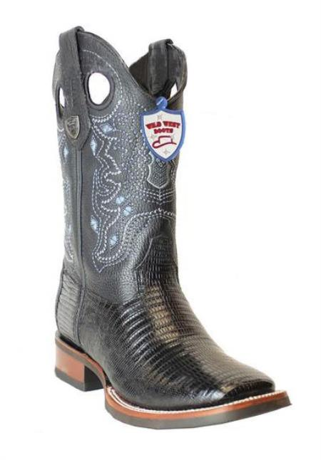 Men's Genuine Teju Lizard Black Wild West Square Toe Leather Handcrafted Dress Cowboy Boot Cheap Priced For Sale Online