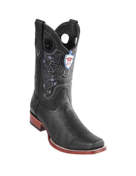 Mens Black Wild West Genuine Rage Cowboy Leather Square Toe Boots Handmade