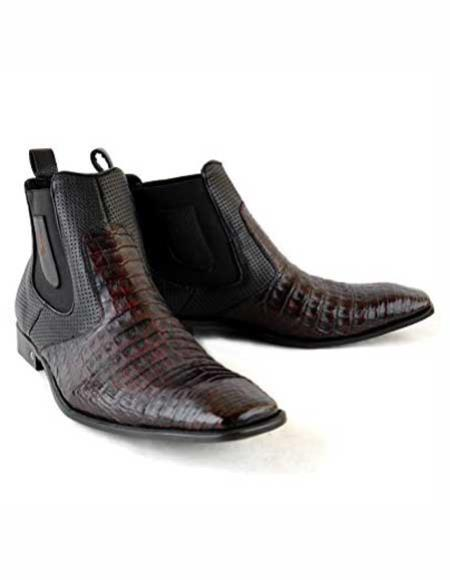 Mens Square Toe Black Cherry Leather Original Crocodile Skin Short Boots