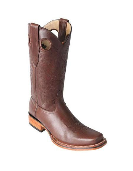 Mens Los Altos Square Toe Brown Boots With Saddle Rubber Sole Handmade
