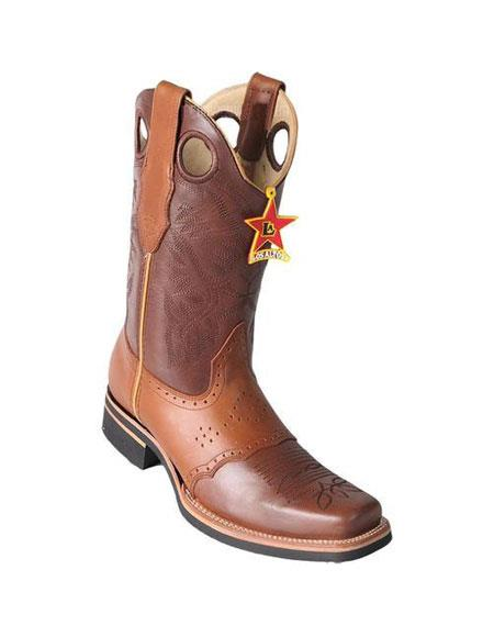 Mens Los Altos Square Toe Boots Brown & Honey With Saddle Rubber Sole Handmade