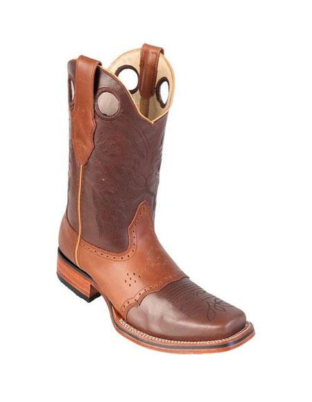 Mens Los Altos Square Toe Brown & Honey Dress Cowboy Boot Cheap Priced For Sale Online With Saddle Rubber Sole Handmade