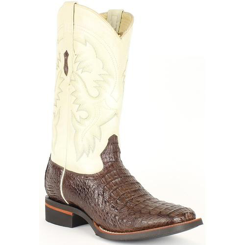 Mens King Exotic Cowboy Style By los altos botas For Sale Brown/Ivory Wide Square Toe Smooth Caiman Leather Boots