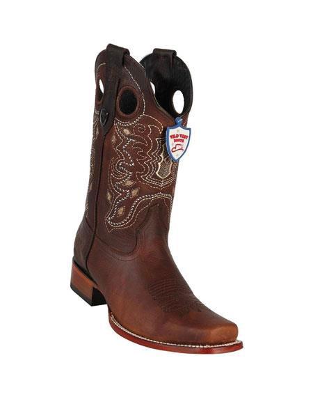 Mens Dark Brown Handmade Wild West Genuine Rage Cowboy  Leather Square Toe Boots