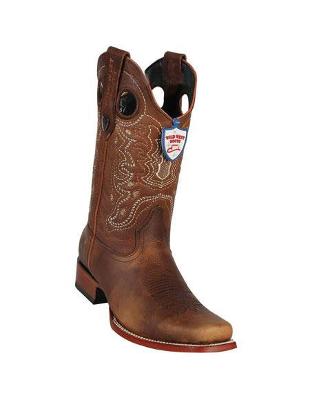 Mens Wild West Genuine Rage Cowboy Leather Square Toe Brown Boots Handmade