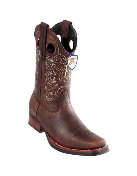 Mens Brown Handmade Wild West Genuine Rage Cowboy Leather Square Toe Boots