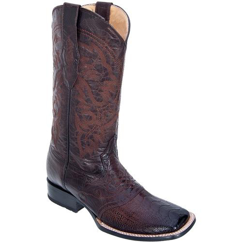 Buy SM3815 Men's Los Altos Burnished Brown Ostrich Leg W/ Saddle Vamp Wide Square Toe Boots