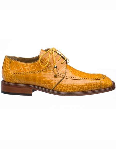 Ferrini Men's Leather Square Toe Genuine World Best Alligator ~ Gator Skin Tasseled Laces Shoes Caramel