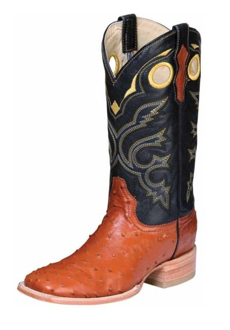 Mens Leather El General Full Quill Ostrich Skin Cognac Square Toe Handmade Dress Cowboy Boot Cheap Priced For Sale Online - Botas De Avestruz