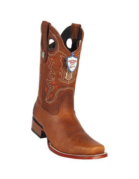 Mens Wild West Cognac Genuine Rage Cowboy Leather Square Toe Boots Handmade