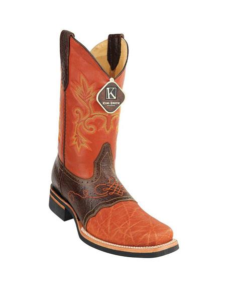 Mens King Exotic Cowboy Style By los altos botas For Sale Embroidered Square Toe Genuine Elephant Skin Cognac Boots