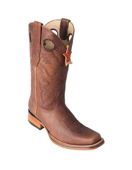 Mens Los Altos Square Toe Grisly Honey Boots With Saddle Rubber Sole Handmade