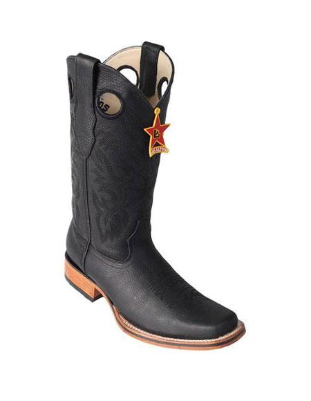 Mens Los Altos Square Toe Black Dress Cowboy Boot Cheap Priced For Sale Online With Saddle Rubber Sole Handmade