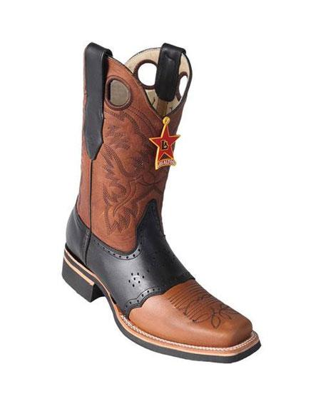 Men s Honey and Black Los Altos Square Toe Dress Cowboy Boot Cheap Priced For Sale Online
