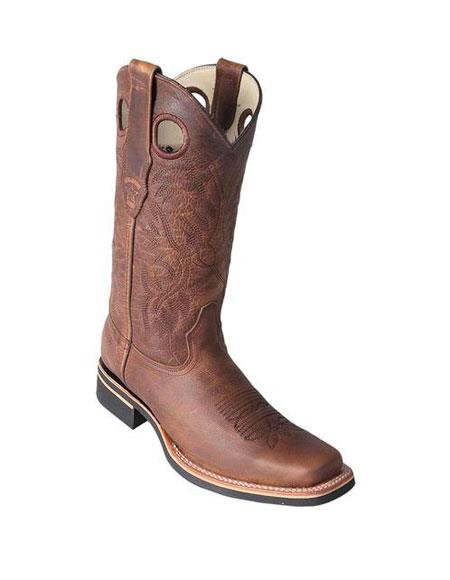Mens Los Altos Square Toe Dress Cowboy Boot Cheap Priced For Sale Online With Saddle Rubber Sole Handmade Honey