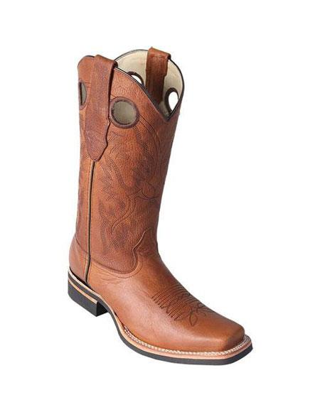 Mens Los Altos Honey Square Toe Boots With Saddle Rubber Sole Handmade