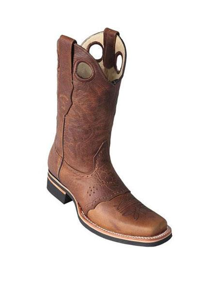 Mens Los Altos Square Toe Dress Cowboy Boot Cheap Priced For Sale Online Honey With Saddle Rubber Sole Handmade