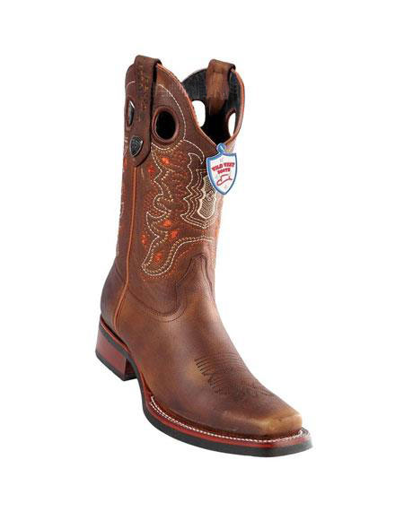 Mens Handmade Wild West Genuine Rage Cowboy Leather Square Toe Walnut Boots