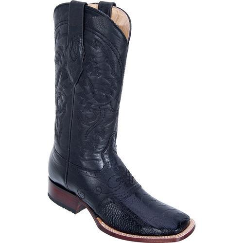 Buy SM3810 Men's Los Altos Wide Square Toe Genuine Ostrich Leg Boots W/ Saddle Vamp Black