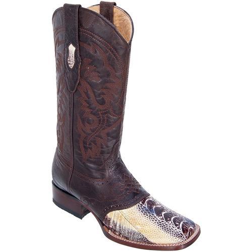 Mens Los Altos Ostrich Leg W/ Saddle Vamp Wide Square Toe Boots Natural
