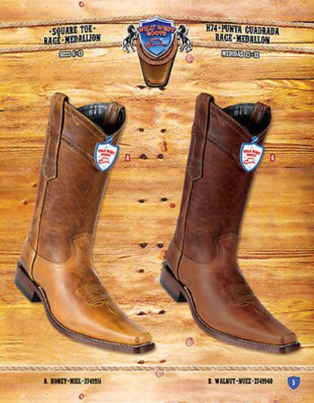 Squate Toe Rage Medallion Genuine Cowboy Western Boots Multi-color