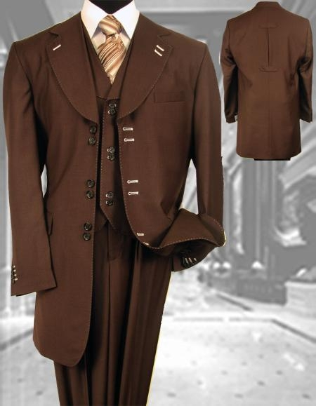 SKU#WL221 Stacy Mens Solid Color Brown Fashion Mens Suit $199